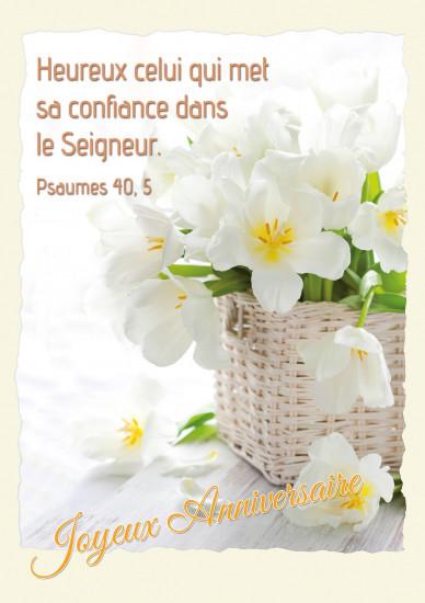 Carte double Anniversaire Bouquet de fleurs blanches dans un panier