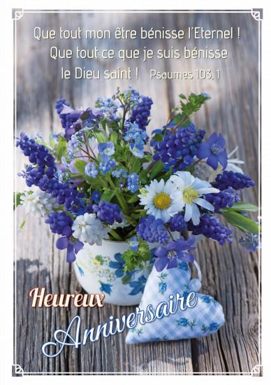 Carte double Anniversaire Bouquet fleurs bleues et blanches, coeur en tissu
