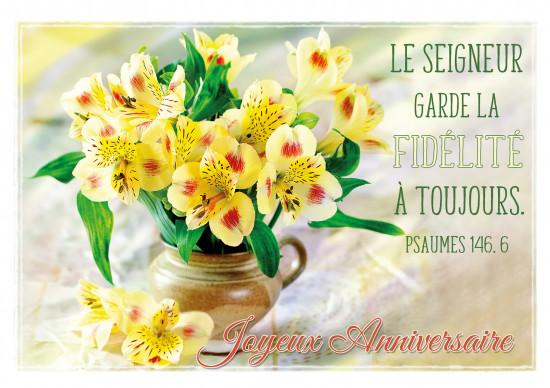 Carte double Anniversaire Bouquet de fleurs jaunes dans un vase