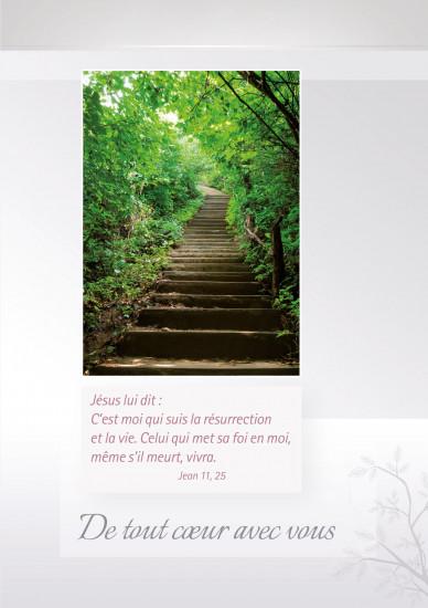 Carte double Condoléances escalier montant dans la forêt
