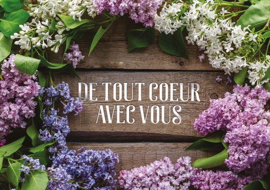Carte double Condoléances Composition florale sur fond de bois