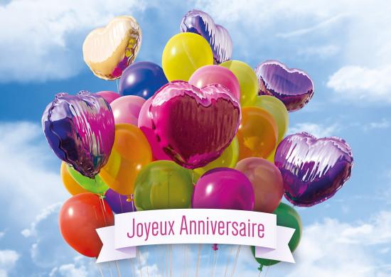 Carte avec message Bouquet de ballons de baudruche (JA)