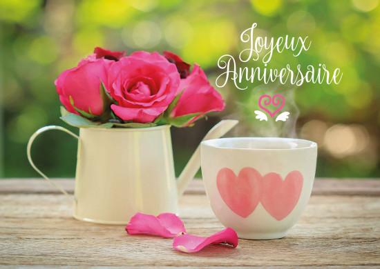 Carte avec message Roses dans théière, tasse avec coeurs(JA)