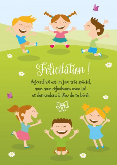 Carte avec message Dessin d'enfants sautant de joie