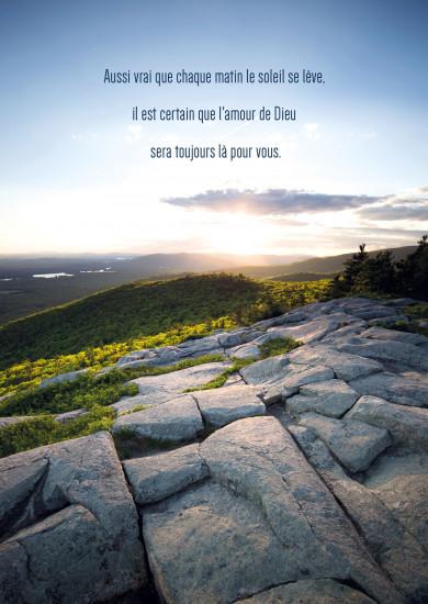 Carte Citation Paysage de montagne au lever du soleil