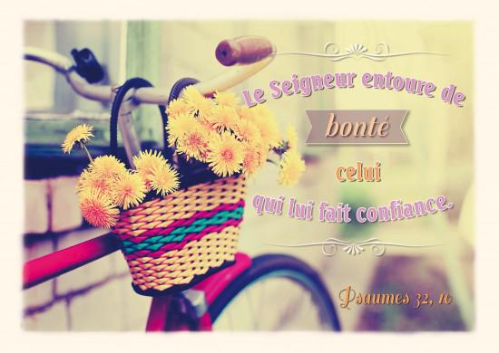 Carte avec Verset Vélo avec un panier de fleurs jaunes