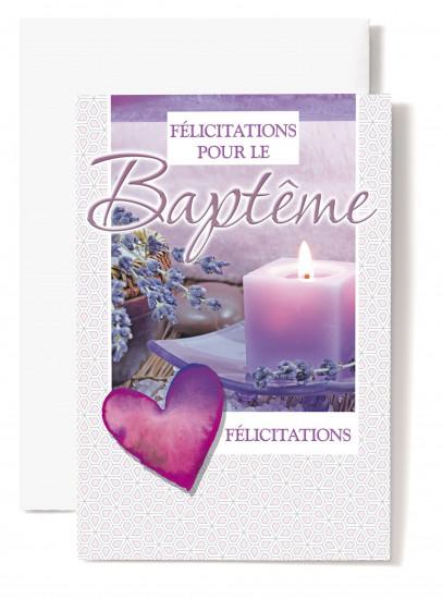Carte double Baptême:  Coeur violet, bougie, lavandes