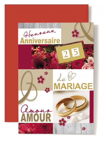 Carte double Anniversaire De Mariage Alliance perle de culture, roses rouges