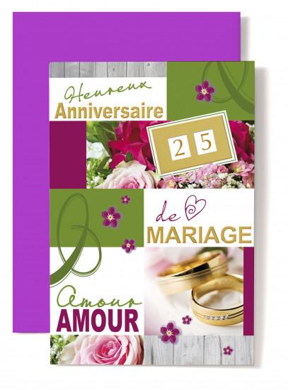 Carte double Anniversaire De Mariage Alliance avec pierres, roses roses