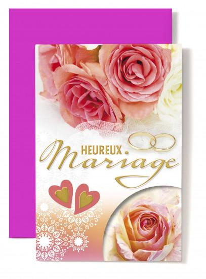 Carte double Mariage Alliances, roses orangées