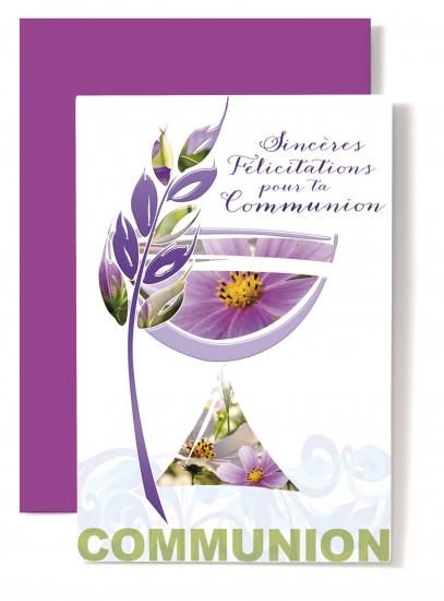 Carte double Communion Coupe violette, épis de blé violet