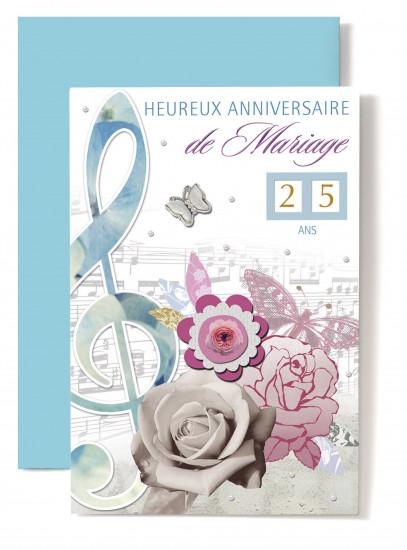 Carte double Anniversaire De Mariage Clé de sol bleue, papillon rose, roses