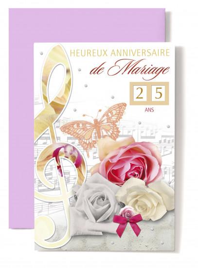 Carte double Anniversaire De Mariage Clé de sol, papillon orangé, roses