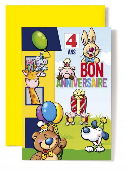 Carte double Anniversaire Maison bleue et jaune, souris, girafe...