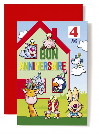 Carte double Anniversaire Maison rouge et verte, chat, chien...