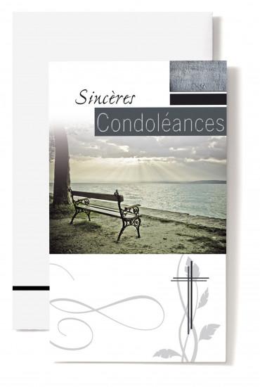 Carte double Condoléances Arbre, banc face à la mer