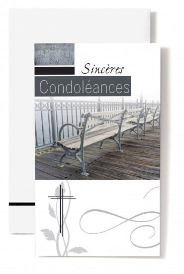 Carte double Condoléances Barrière, banc sur avancée en bois