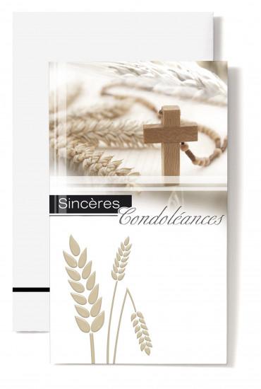 Carte double Condoléances Epis de blé, croix