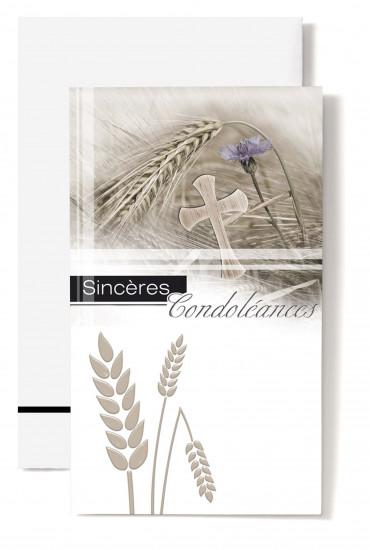 Carte double Condoléances Epis de blé, croix et oeillet