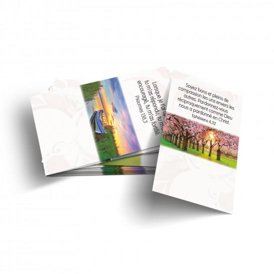 Lot 100 Mini-cartes avec verset : Dieu est mon guide