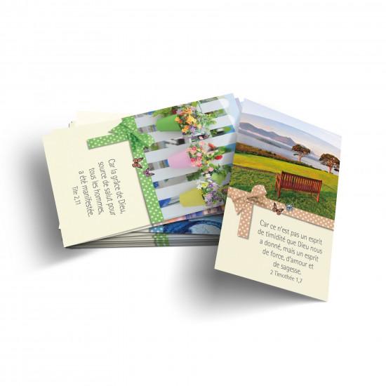 Lot 100 Mini-cartes avec verset : Dieu est bon
