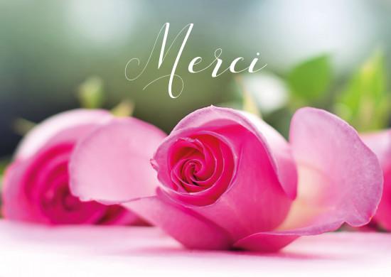 Carte avec message Bouquet de rose posé sur une table (Merci)