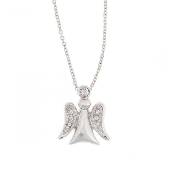 Collier pendentif :ange couleur argent, cristaux Swarowski
