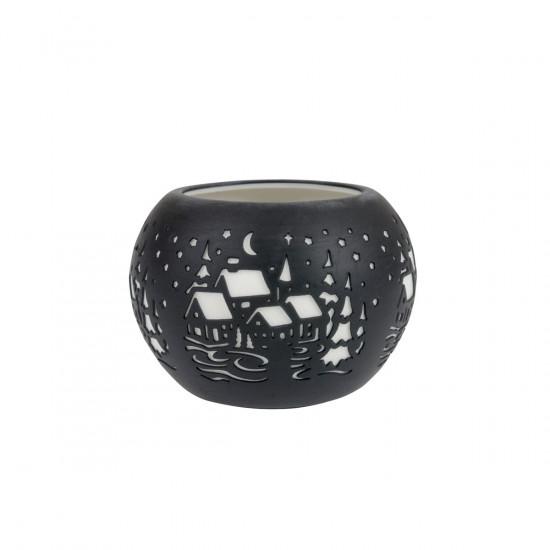 Photophore lanterne paysage hivernal noire en porcelaine
