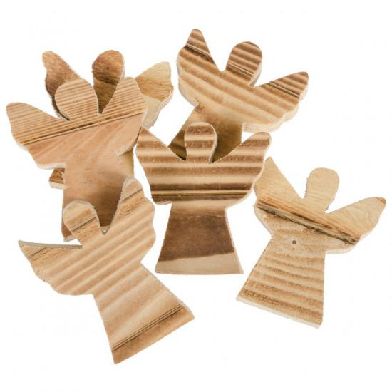 Pack de 6 anges déco , en bois à personnaliser.