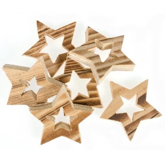 Pack de 6 étoiles déco en bois.  à personnaliser