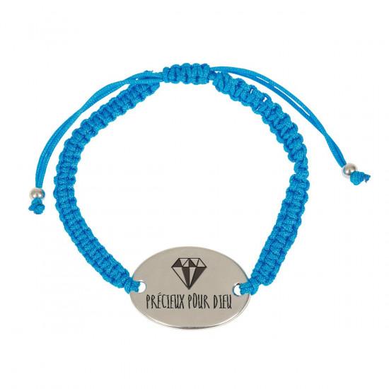 Bracelet tressé turquoise, avec médaillon «Précieux pour Dieu»