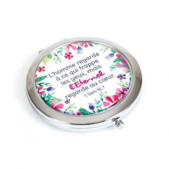 Miroir de poche en métal avec motifs floraux