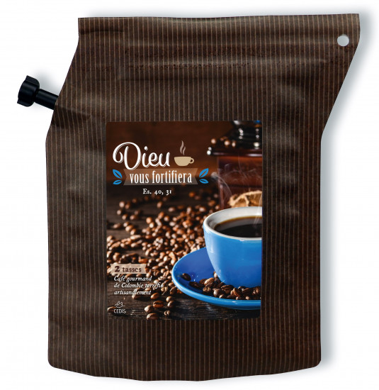 Sachet de café moulu 100% Arabica colombien.