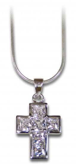 Collier croix en  argent massif et zirconium