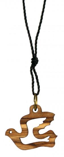 Collier avec pendentif colombe creuse  bois d'olivier.