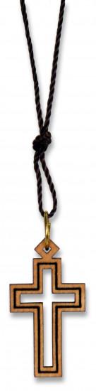 Collier avec pendentif : croix creuse en bois d'olivier.