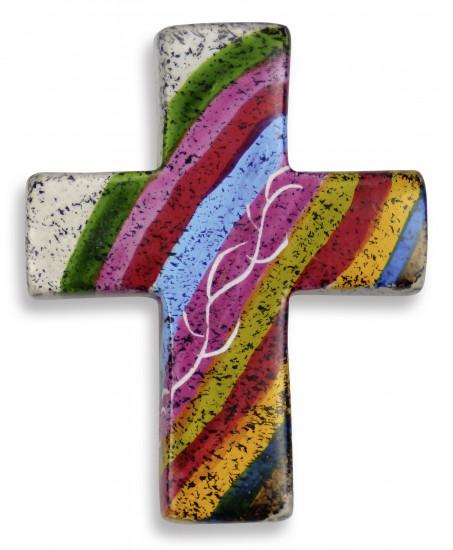 Croix motif Arc-en-ciel en stéatite, fabriqué à la maint à au Kenya