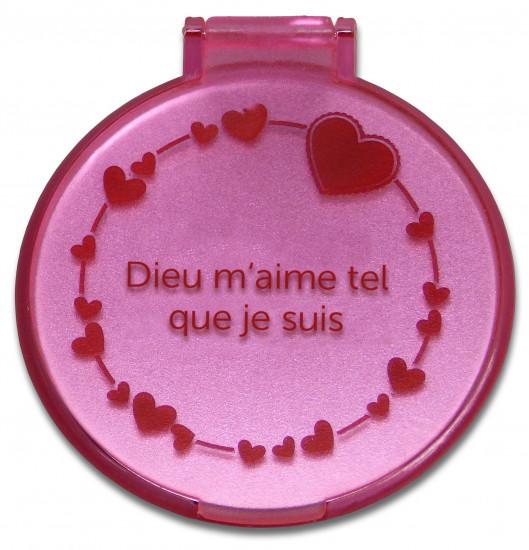 Miroir de poche coeur rose