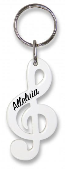 Porte-clé clé de sol blanc  «:  Alleluia»
