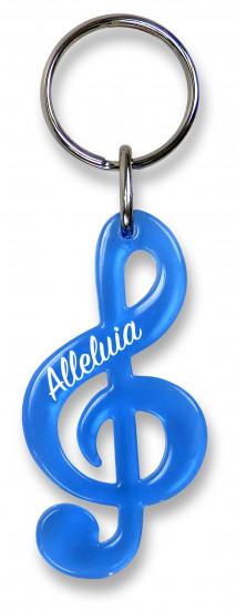 Porte-clé clé de sol bleu translucide:  «Alleluia»