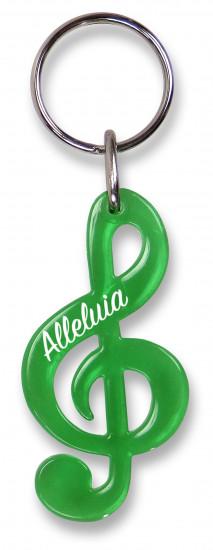 Porte-clé clé de sol , vert translucide «Alleluia».