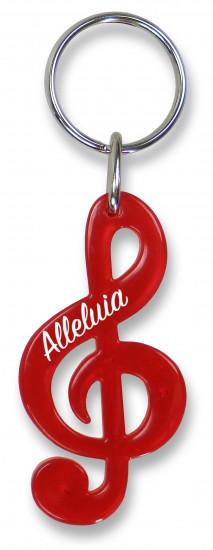 Porte-clé clé de sol rouge translucide  «:  Alleluia»