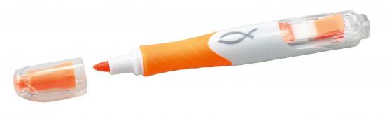 Marqueur fluo orange ichtus avec mini post-its