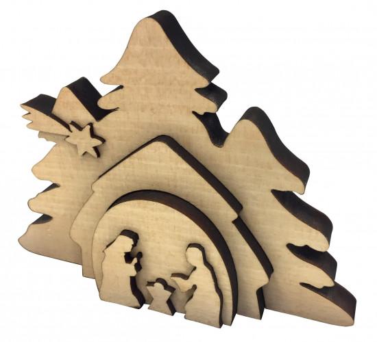 Crêche en bois «Sainte famille» effet 3D