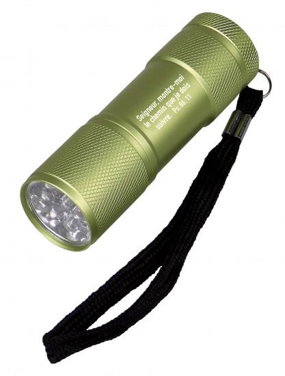 Lampe de poche LED en métal verte Psaume 86-11