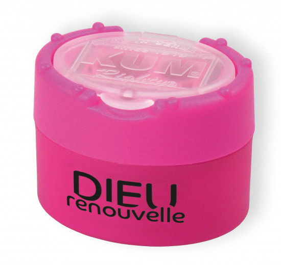 Taille-crayon rose fluo «Dieu renouvelle»