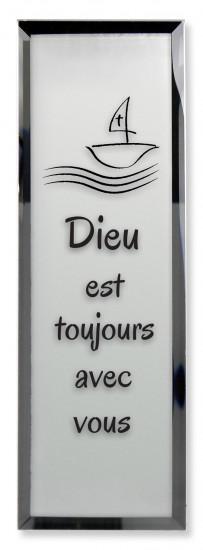 Tableau miroir «Dieu est toujours avec vous»