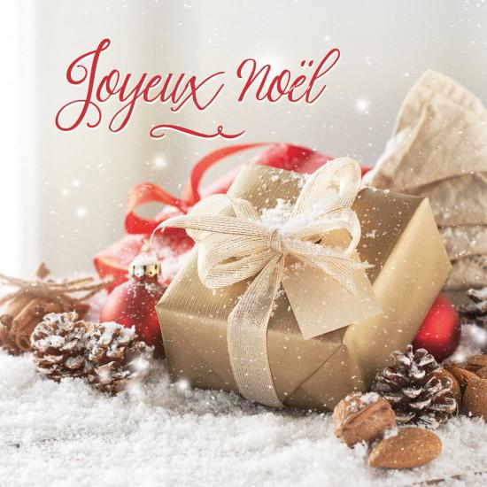 Carte double Carre Cadeaux de Noël sur la neige