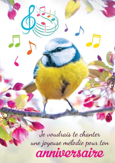 MAXI Carnet : Moineau sur branche avec  notes de musique