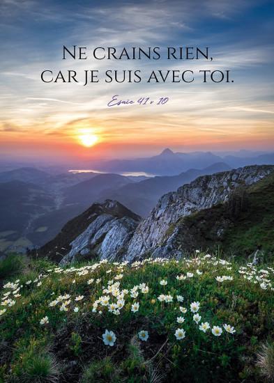 Poster Soleil levant sur paysage de montagne